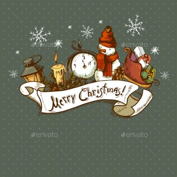 Hand-drawn Christmas Invitation Card