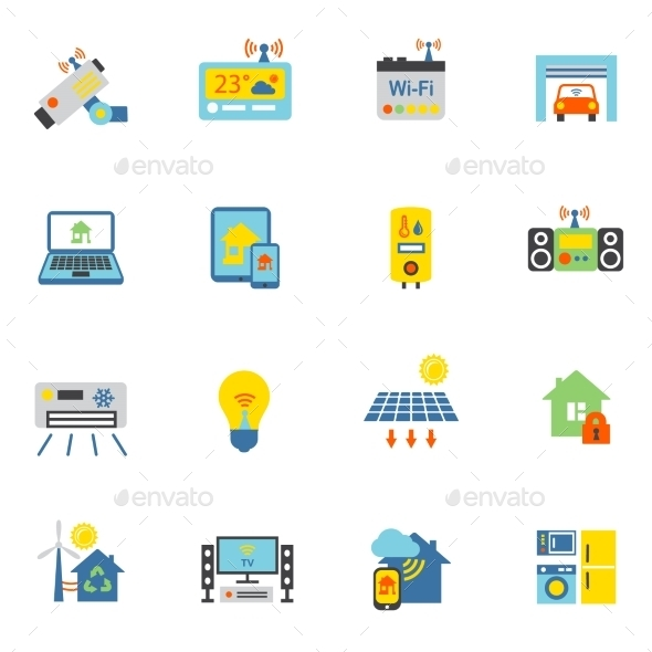 Smart Home Icons Flat