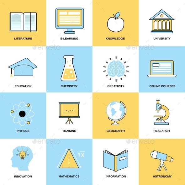 Education Flat Line Icons