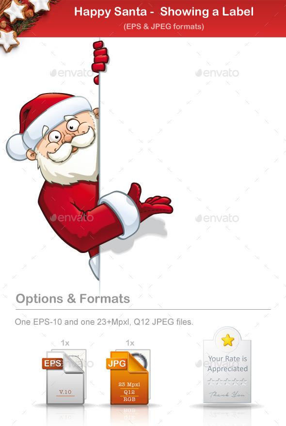 Happy Santa - Showing a Label