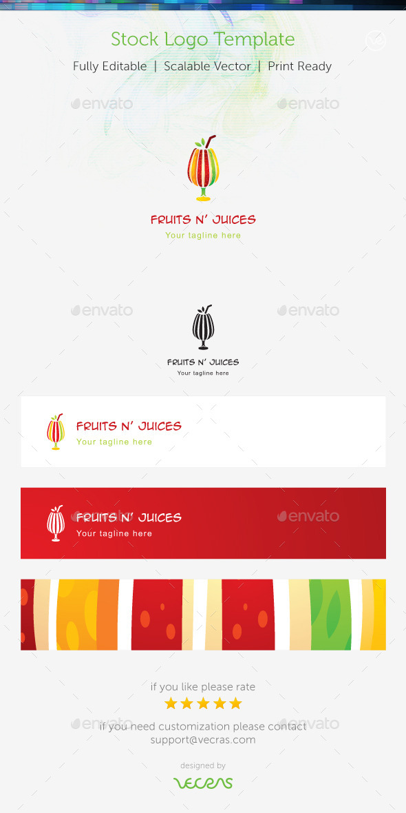 Fruit n' Juices Stock Logo Template