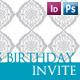 Pink & Aqua Damask Birthday Invitations - GraphicRiver Item for Sale