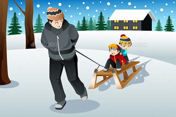 Father Pulling His Sons Riding on a Sled