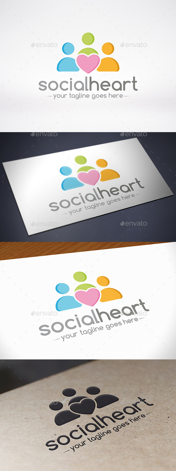 Social Love Logo Template
