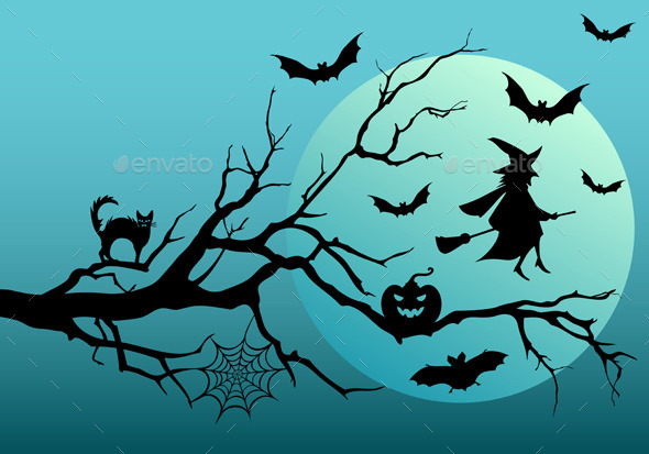 Halloween Witch with Bats