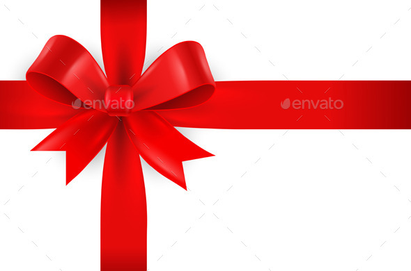 Red Bow on White Background