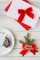 Christmas Presents and Dessert. Christmas Background - PhotoDune Item for Sale