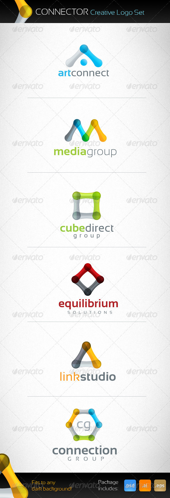 Connector Creative Logo Set