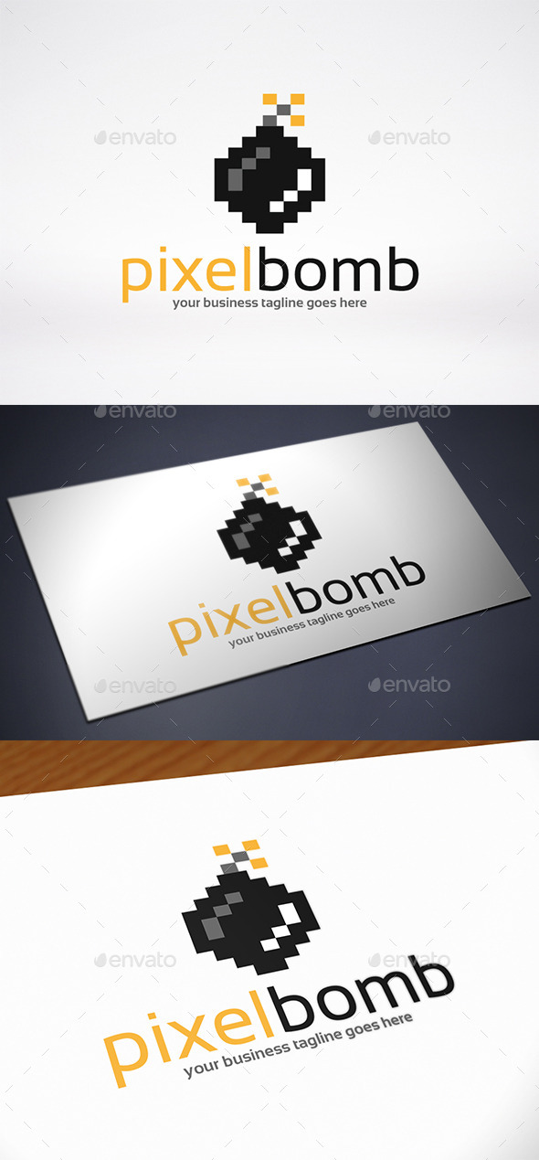 Pixel Bomb Logo Template
