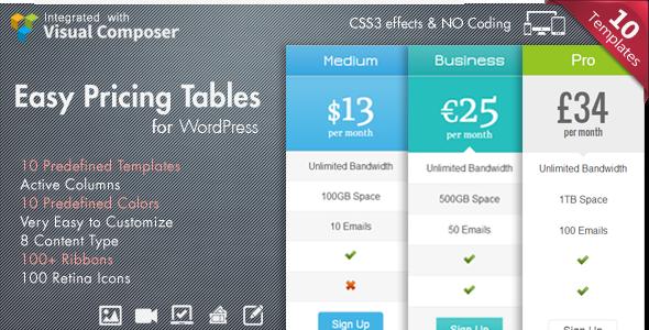 Easy Pricing Tables WordPress Plugin Download