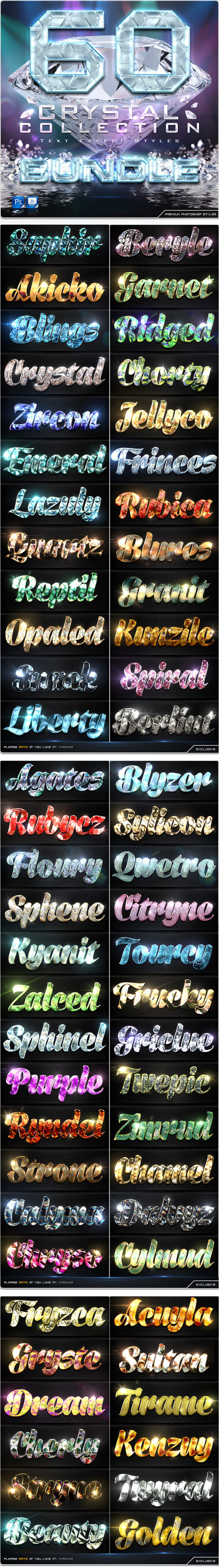 60 Crytal Collection Text Effect Styles Bundle
