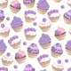 Seamless Pattern with Violet Cupcakes - GraphicRiver Item for Sale
