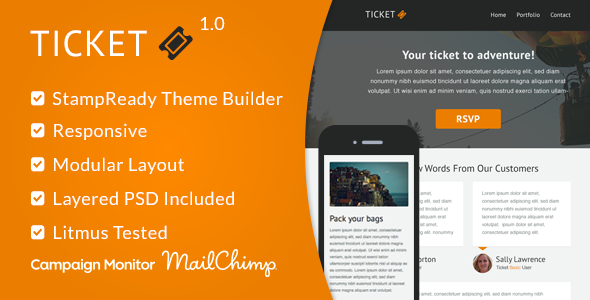 Ticket - Responsive Email Template + StampReady