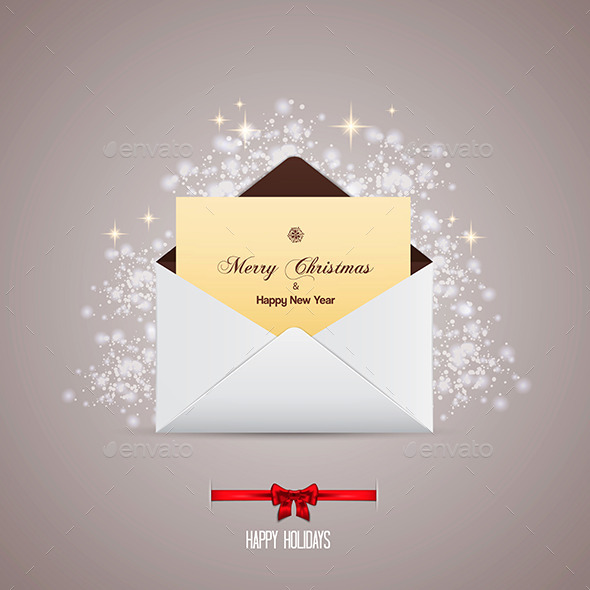 Envelope and Greeting Card Merry Christmas