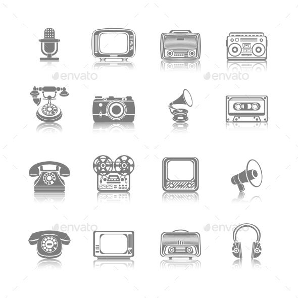 Retro Media Black Icons