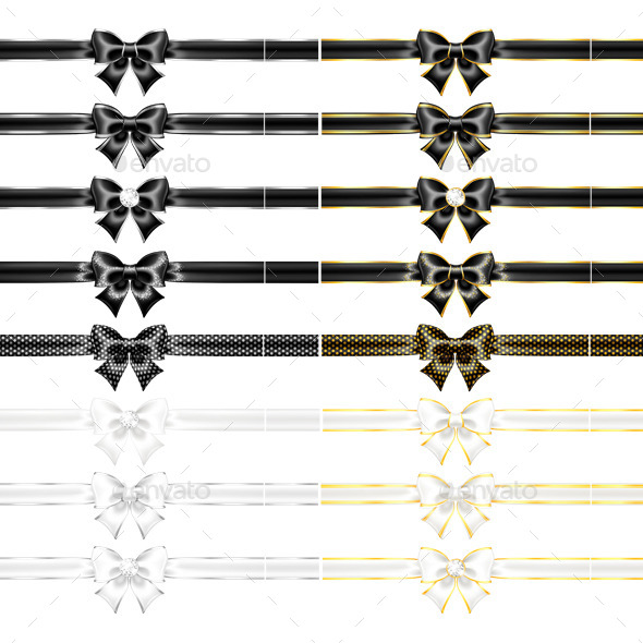 Black and White Bows with Ribbons
