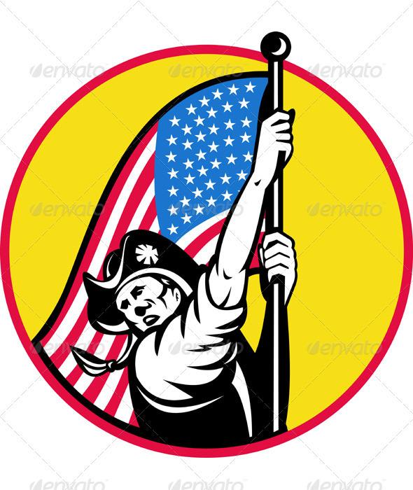 American Minuteman Revolution Militia With Flag