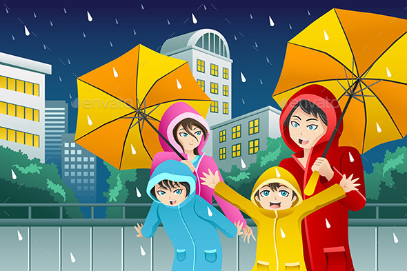 Family walking with Umbrella and Wearing Raincoats