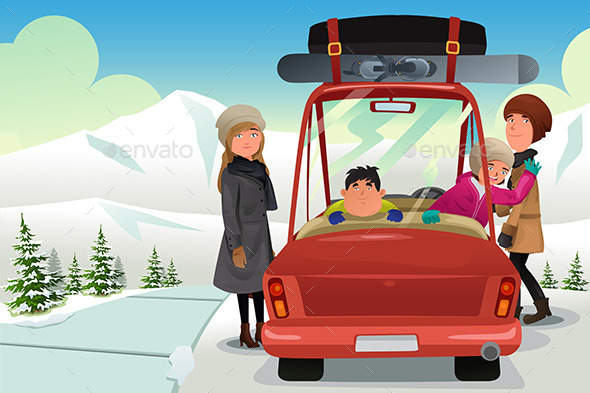 Family going to a Winter Holiday Trip