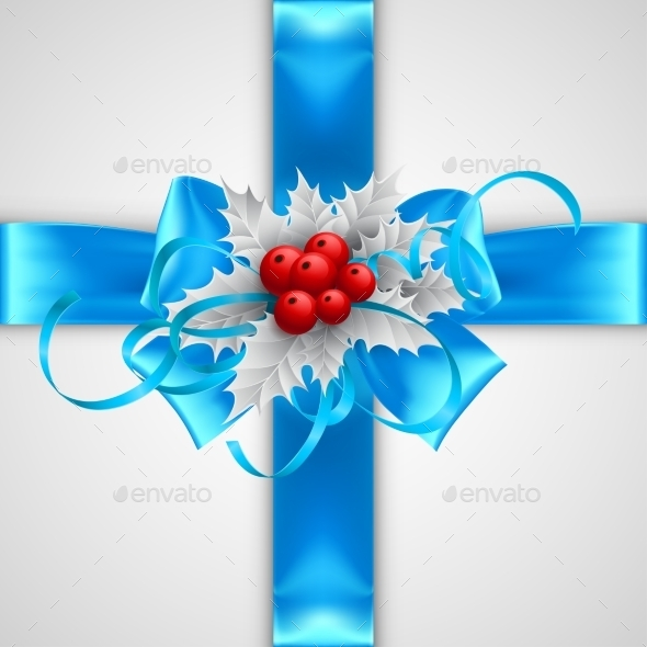 Blue Bow with Christmas Decorations