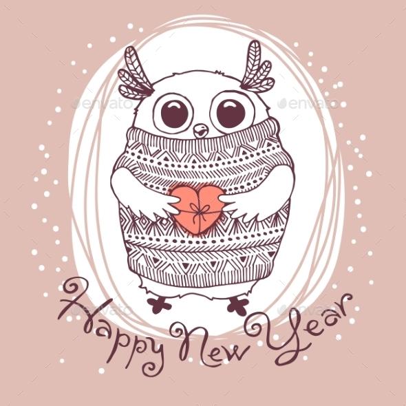 Owl Illustration Happy New Year