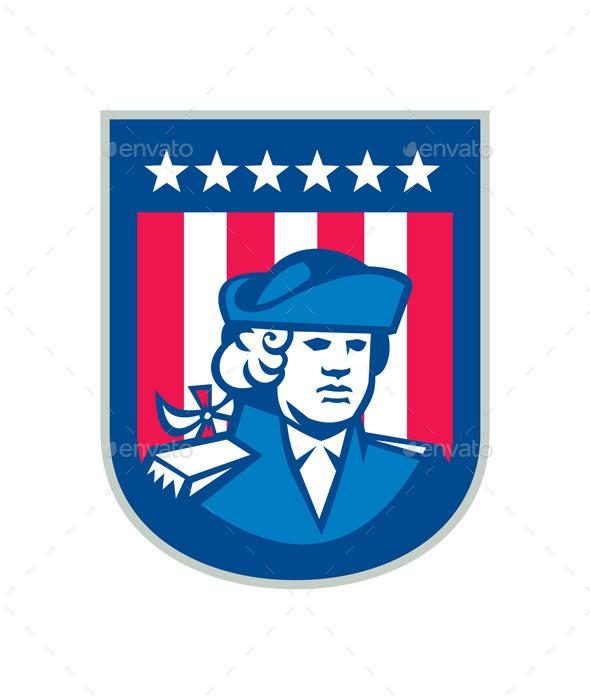 American Patriot Head Bust Shield Retro