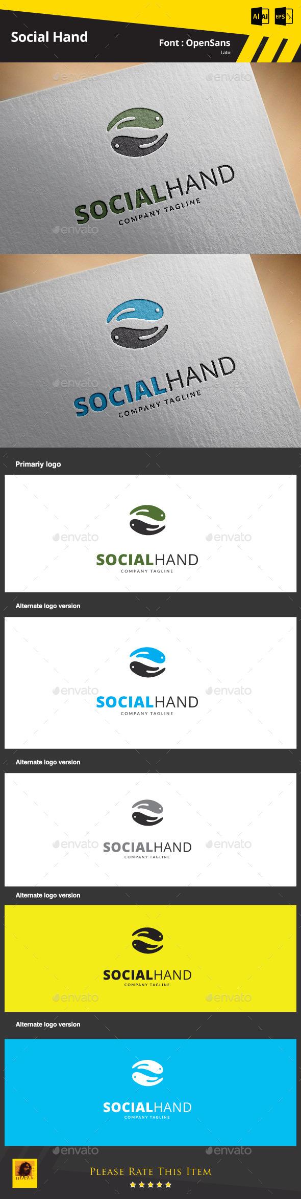 Social Hand  Logo Template