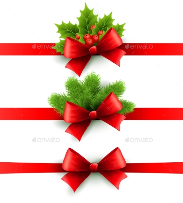 Red Holiday Ribbon with Bow, Holly and Pine