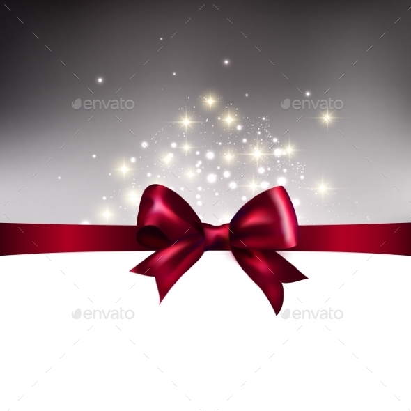 Abstract Christmas Llight Background with Ribbon