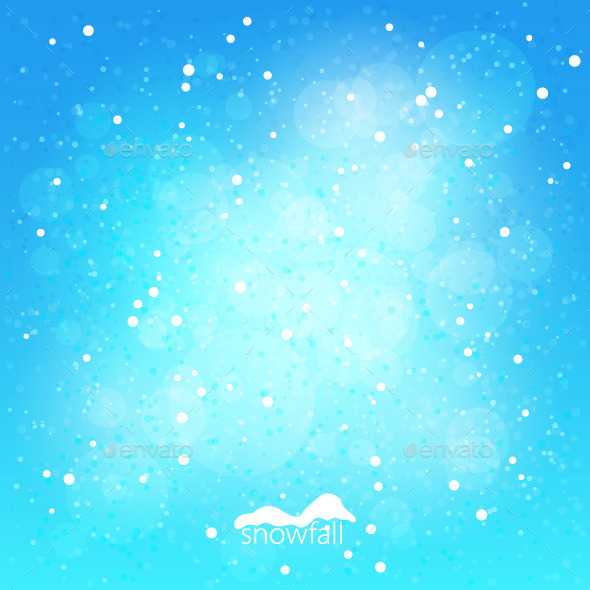 Snowfall, Abstract Blue Winter Background