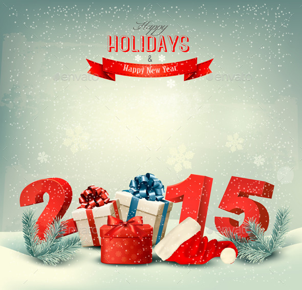 Holiday Background with Presents and a 2015