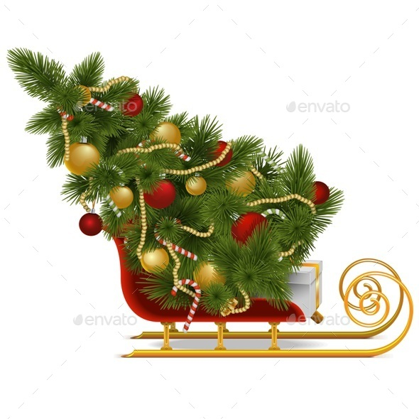 Vector Sled with Christmas Tree