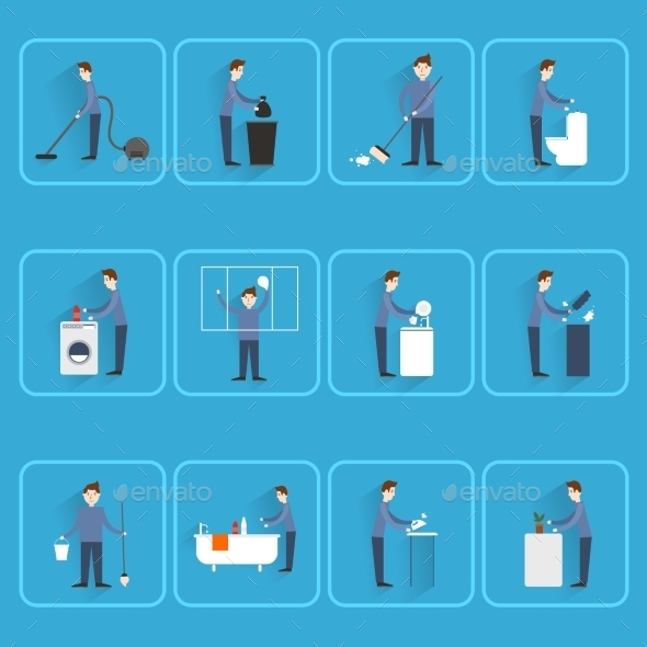 People Cleaning Icons