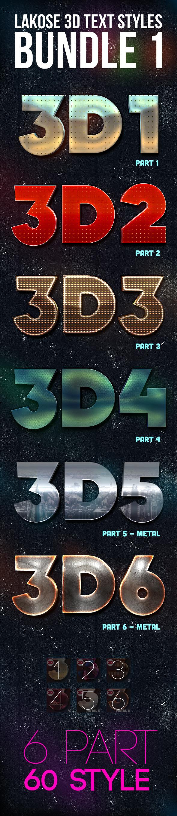 Lakose 3D Text Styles Bundle 1