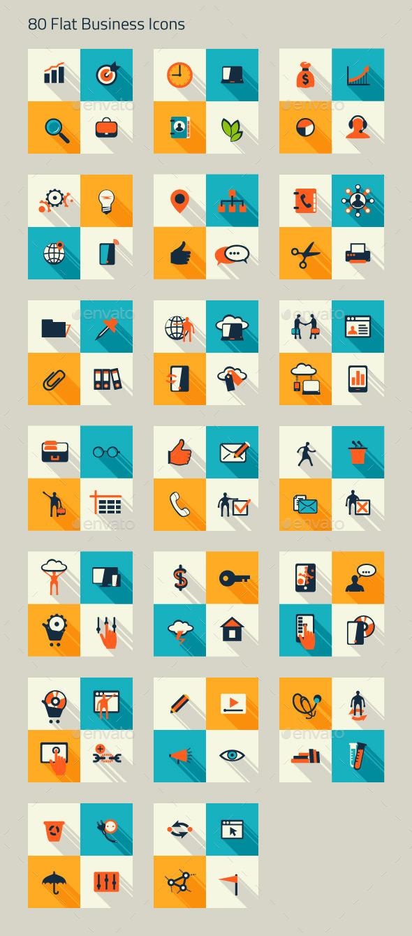 Business Icon Set. Finance, Marketing, E-commerce