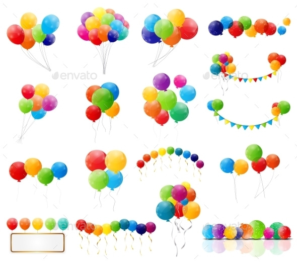 Color Glossy Balloons Set