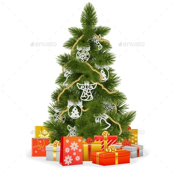 Christmas Tree with Paper Decorations
