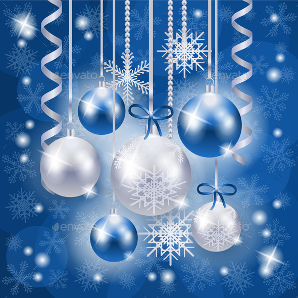 Christmas Background in Blue on Snow Texture