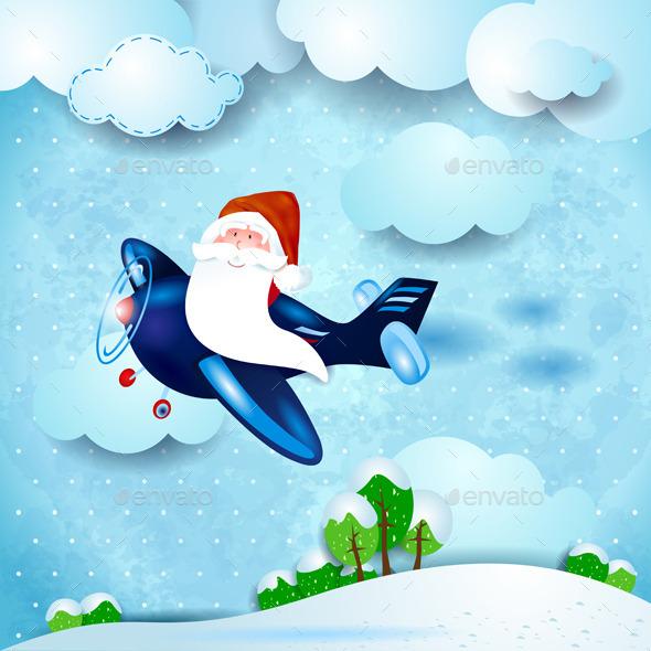 Santa Claus on an Airplane