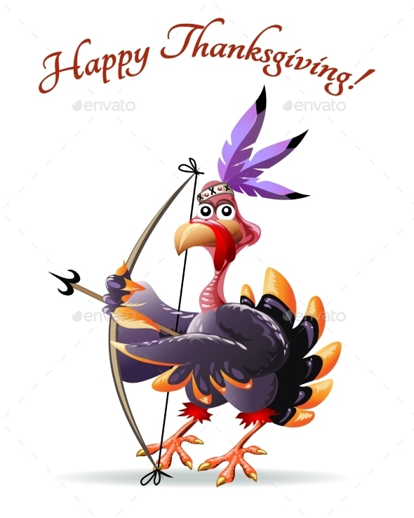 Turkey with Bow Thanksgiving Greeting Card