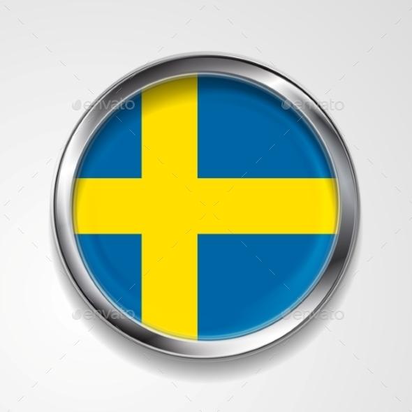 Swedish Metal Button Flag