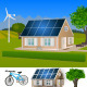 Eco House with Solar Panels and Wind Turbine - GraphicRiver Item for Sale