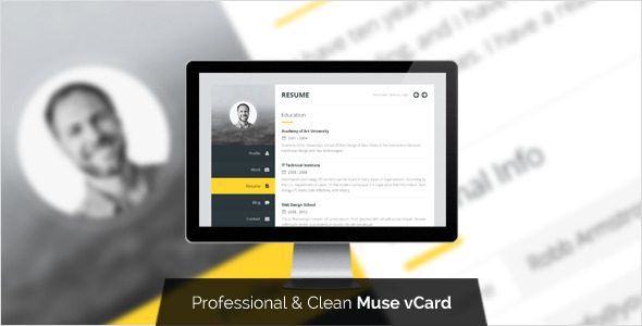 Premium Layers: Muse vCard & Resume Template
