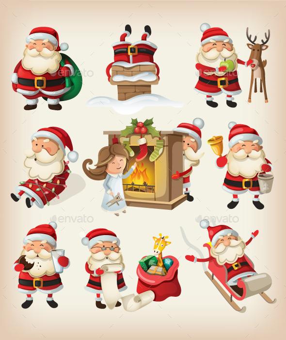 Set of Santa Claus at Christmas