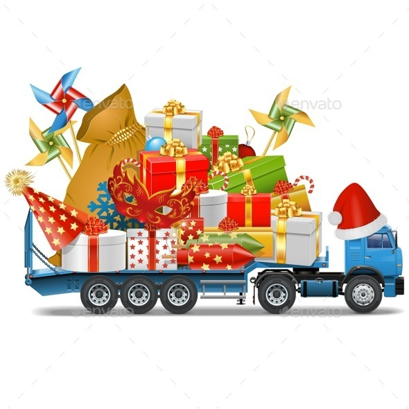 Trailer with Christmas Gifts