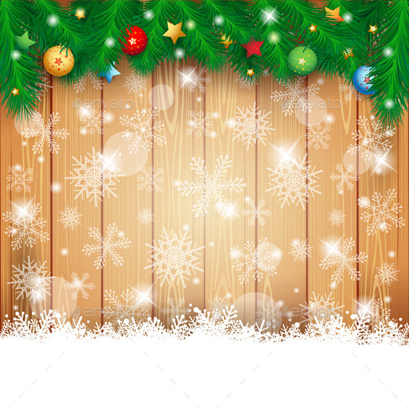 Christmas Background with Wood and Fir