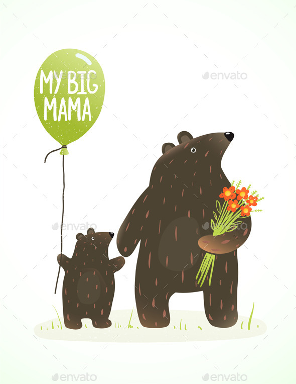 Mother Bear and Her Baby Animal Cartoon