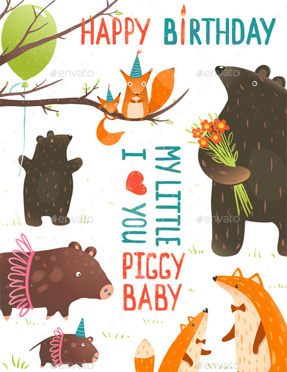 Birthday Card with Forest Animals Mother and Baby