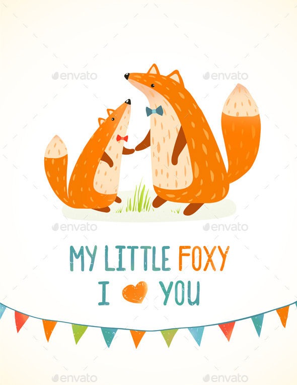 Mother or Father Fox and Foxy Child Illustration