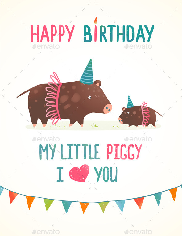 Little Piggy and Mother Birthday Greeting Card